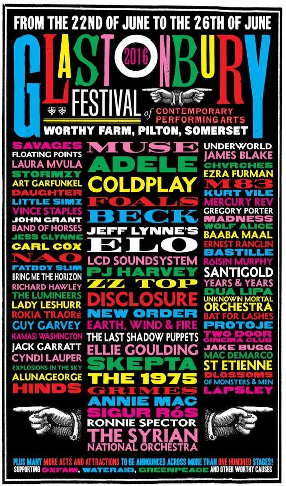 Glasto Line Up Poster
