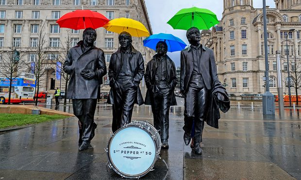 Iconic Beatles Statue on the waterfront