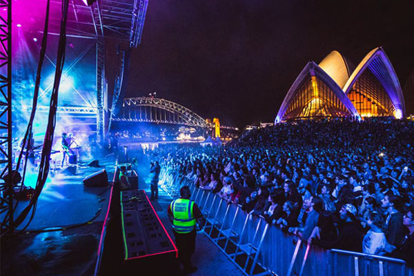Live performance outside Sydney Opera House.