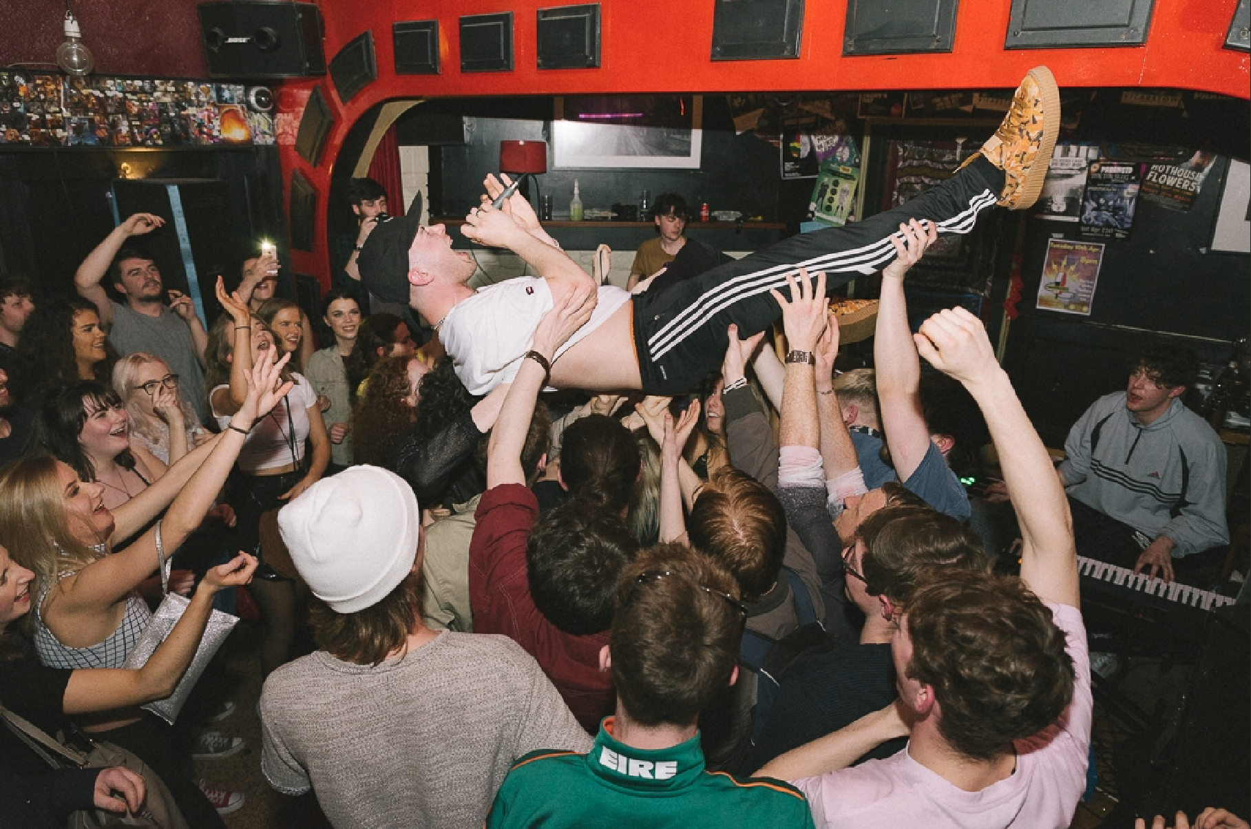 After a thrilling night, frontman Baxter couldn't resist jumping on to the crowd. Photo by Nicholas O'Donnell.