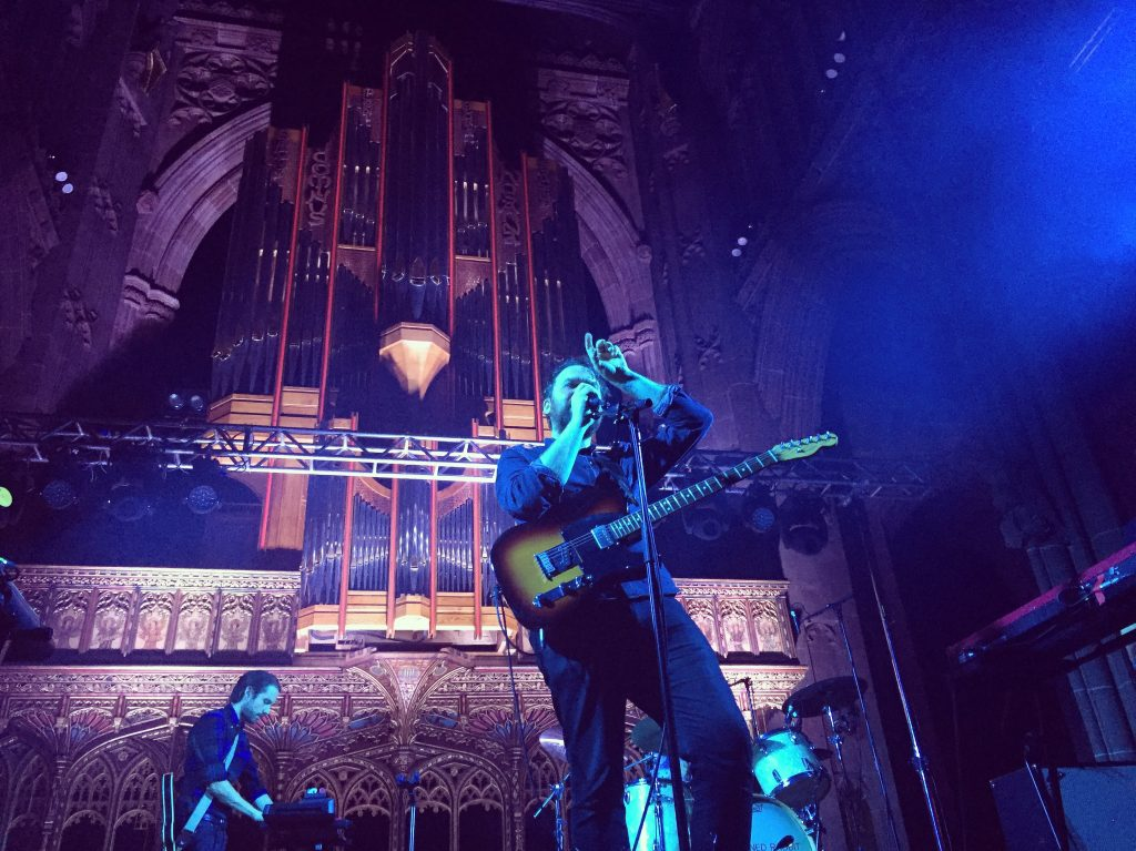Scott Hutchison during Frightened Rabbit's gig at the Manchester Cathedral in 2016.