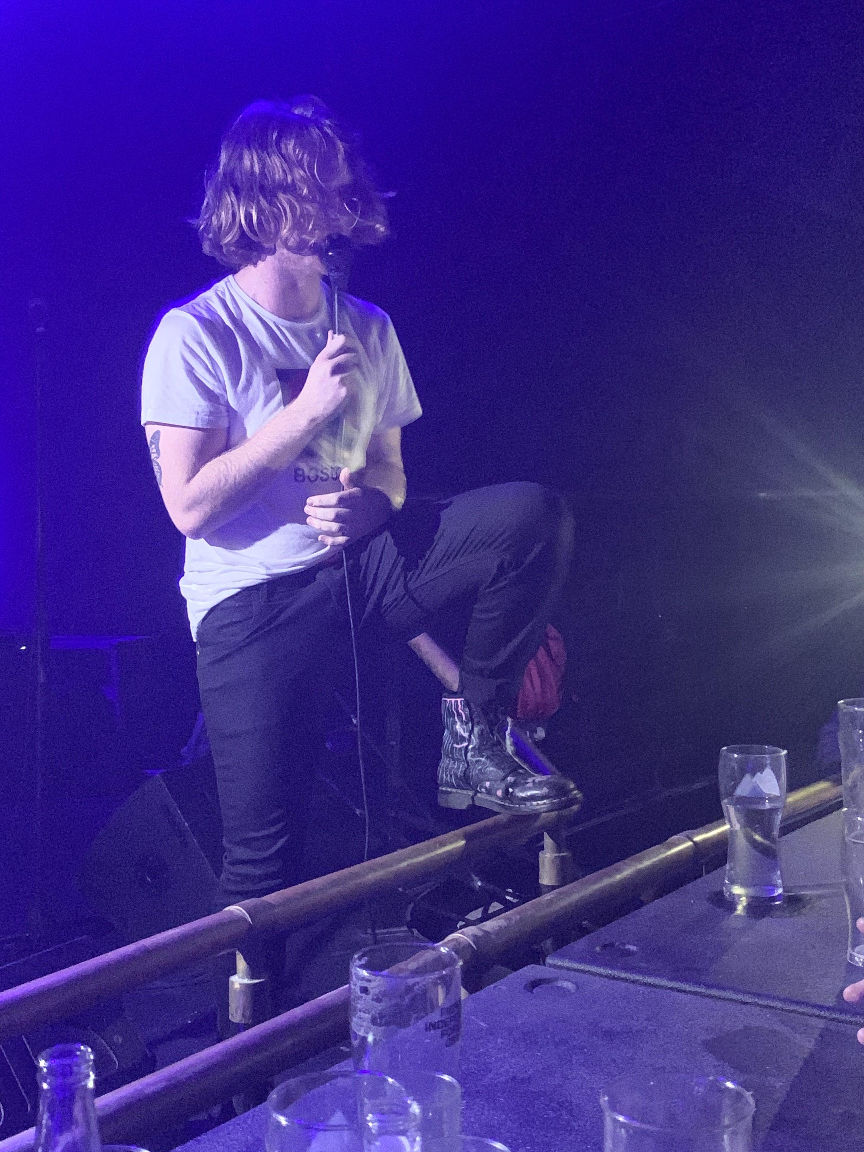Frontman, Kieran Hurley eyeing up his audience. Photo taken by Jack Squibb.