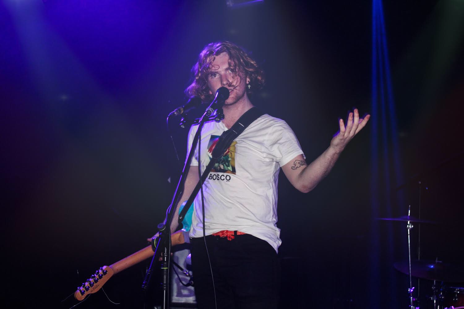 The Love Buzz frontman, Kieran Hurley during a breathless set at Dali. Photo by Leanne Gabriel.