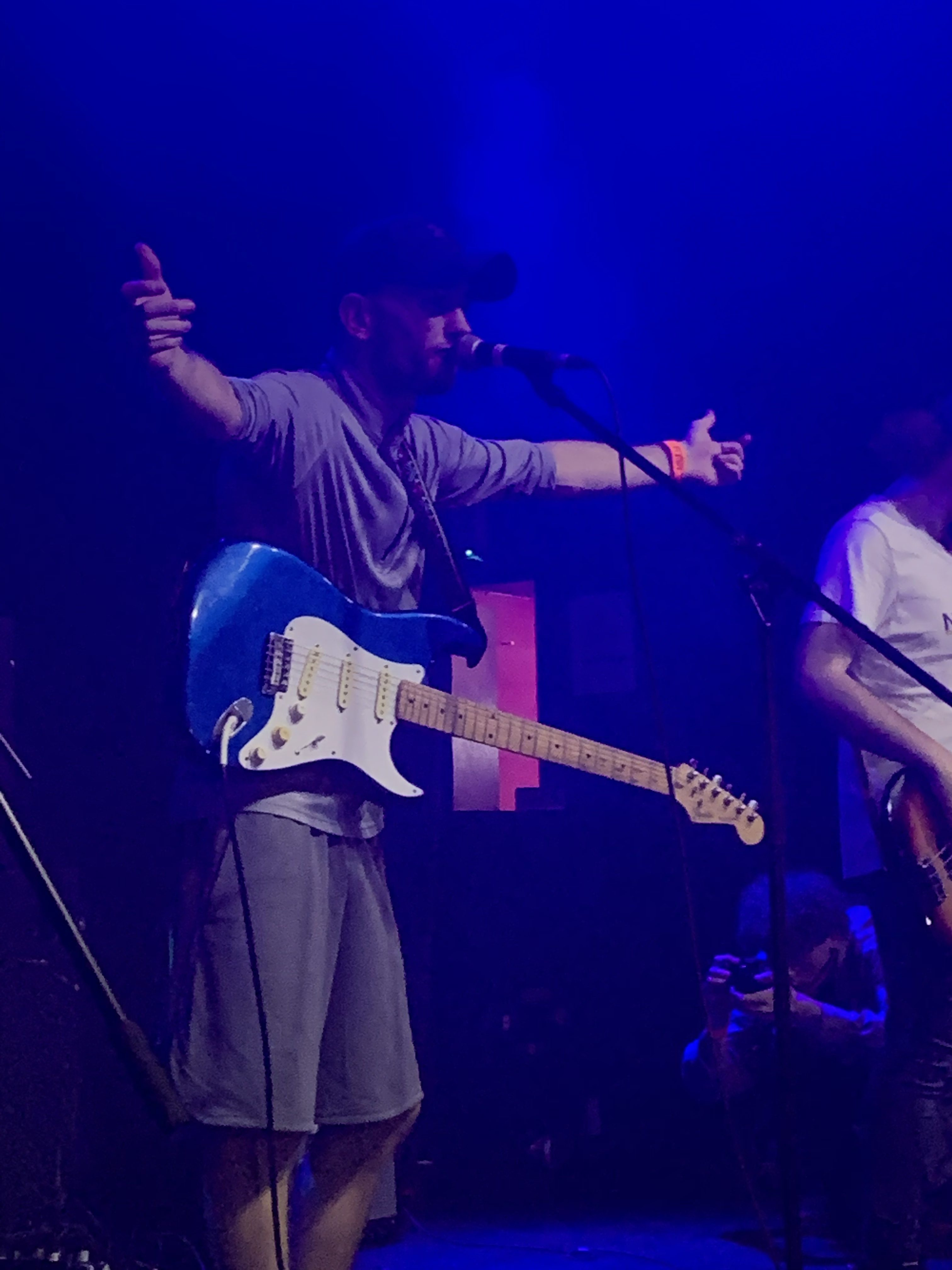 Frontman, Joe Maddocks performing to a rammed Arts Club.